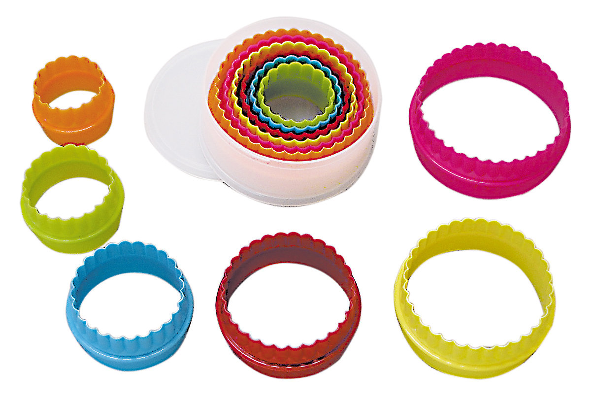 By AH -Set of Plastic Cookie Cutters -ROUND/CIRCLES -Plain & Fluted -Σετ Πλαστικά Στρογγυλά Κουπάτ 6 τμχ.