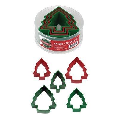 By AH -Set of Plastic Cookie Cutters -TREES -Σετ Πλαστικά Χριστουγεννιάτικα Δεντράκια Κουπάτ 5 τεμ.