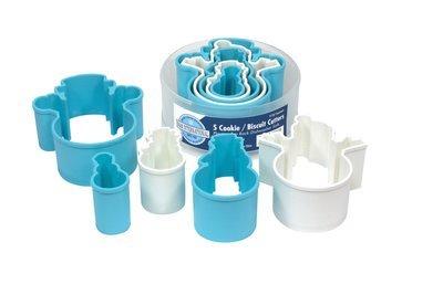 By AH -Set of Plastic Cookie Cutters -SNOWMEN -Σετ Πλαστικά Χιονανθρωπάκια Κουπάτ 5 τεμ.