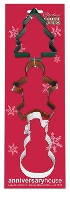 SALE!!! By AH -Set of 3 Cookie Cutters 'CHRISTMAS SET' -TREE, GINGERBREAD MAN, SNOWMAN -Κουπάτ Δέντρο, Μπισκοτένιο Ανθρωπάκι, Χιονάνθρωπος -σετ 3 Τεμαχίων -12,5εκ