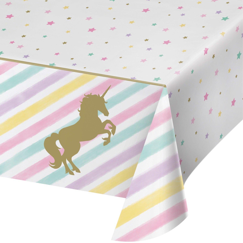 SALE!!! By AH - Unicorn Sparkle Table Cloth - Τραπεζομάντηλο Πλαστικό Λαμπερός Μονόκερος - 1,37x2,59εκ -
