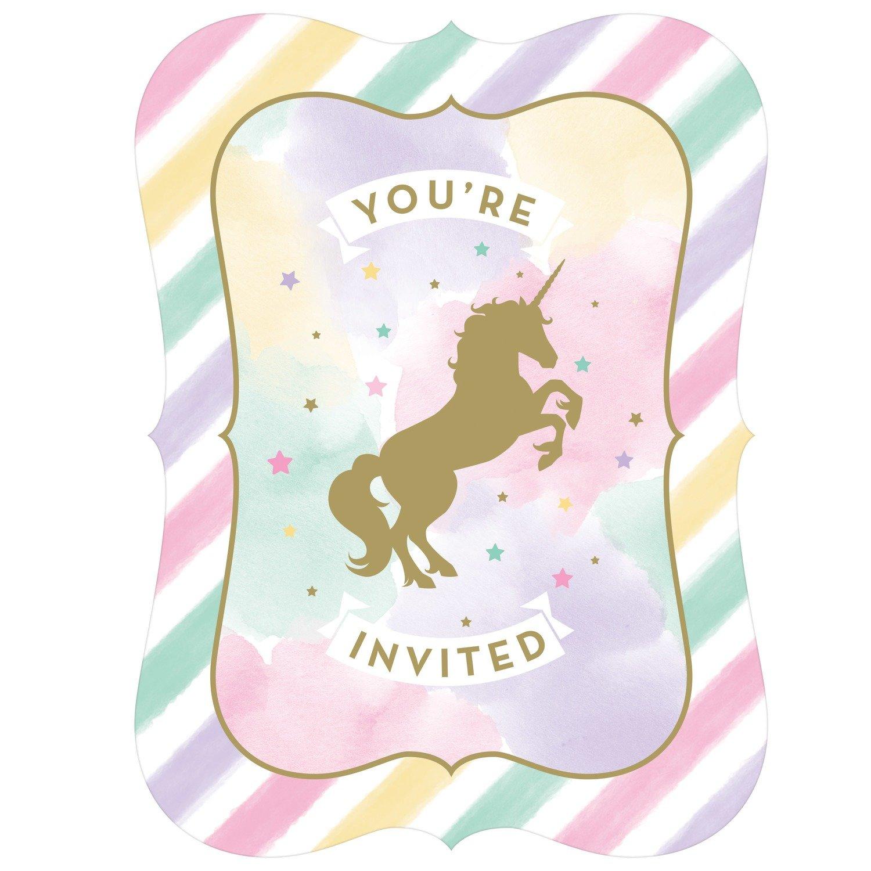 SALE!!! By AH - Unicorn Sparkle Invitations Pack of 8 - Προσκλητήρια Λαμπερός Μονόκερος - 8τεμ/πακέτο