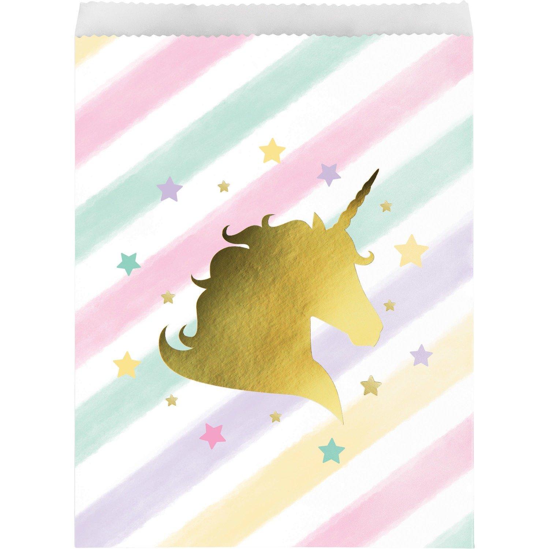 SALE!!!By AH - Unicorn Sparkle Loot Bags 10pcs  - Τσαντούλες Χάρτινες Λαμπερός Μονόκερος για Γέμισμα με Δωράκια & Γλυκά σε Πάρτι - 10τεμ - 22.8x16.5εκ