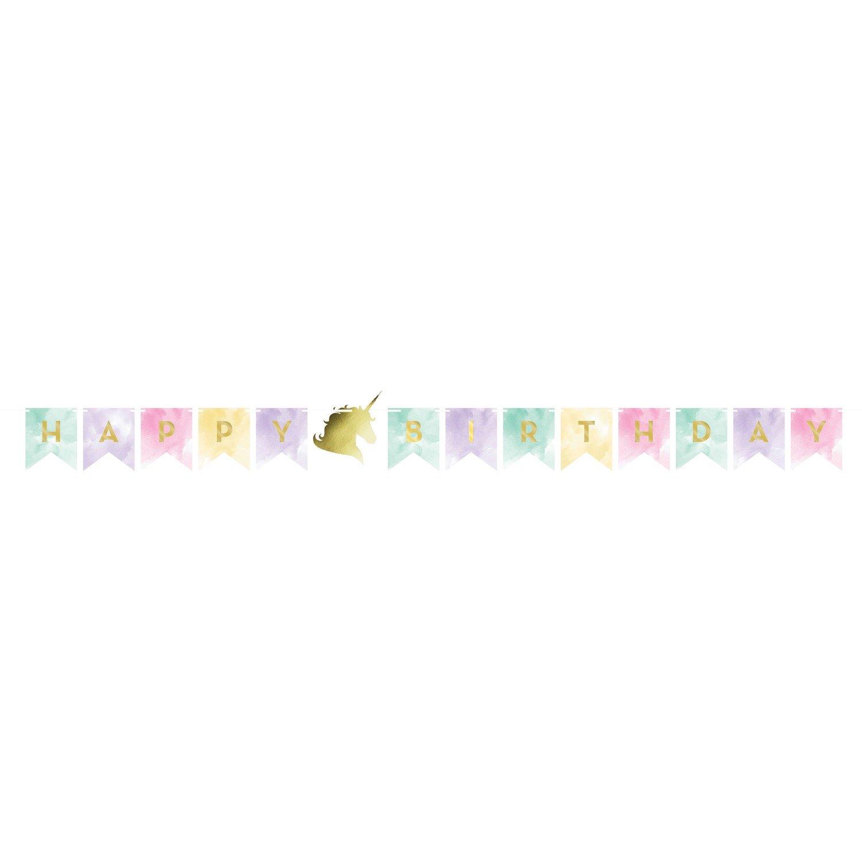 SALE!!! By AH - Unicorn Sparkle Foil Banner - Αλουμινένιο Πανό Λαμπερός Μονόκερος - 1.67x13.9εκ