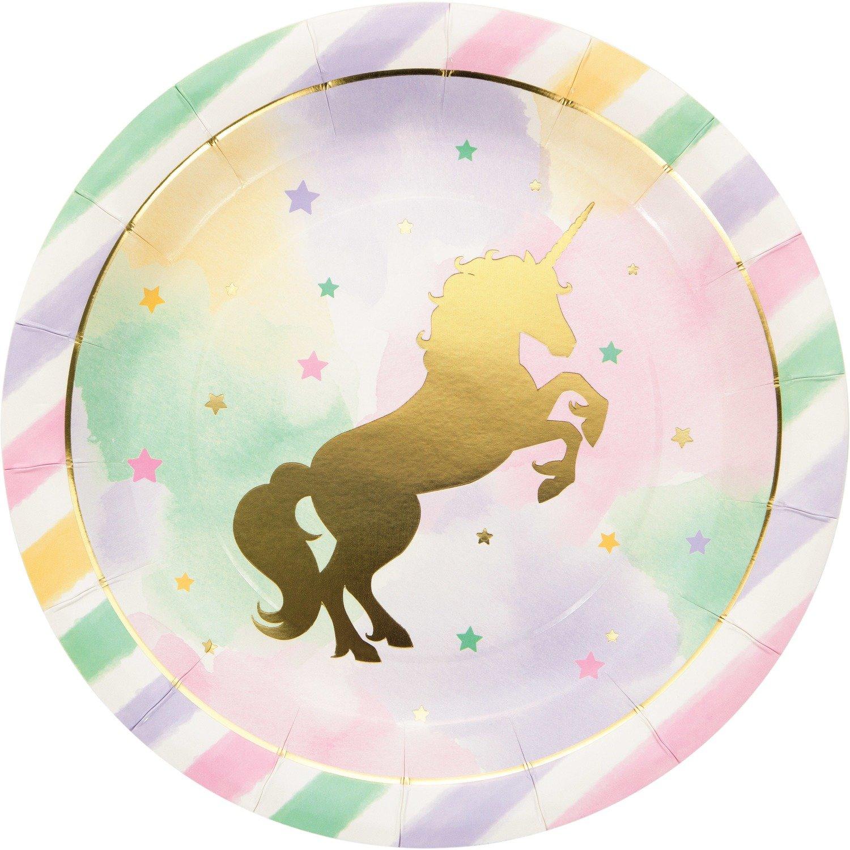 SALE!!! By AH - Unicorn Sparkle Dinner Plate 8pcs - Χάρτινα Πιατάκια Λαμπερός Μονόκερος - 8τεμ - 22.2εκ