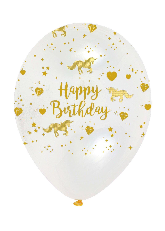 SALE!!! By AH - Unicorn Sparkle Gold/Clear Latex Balloons 6pcs - Λάτεξ Μπαλόνια Χρυσά/Διάφανα Λαμπερός Μονόκερος - 6τεμ