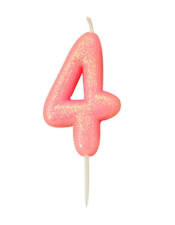 By AH -Candles -GLITTER PINK '4' -Κεράκι Ροζ Γκλίτερ αριθμός '4'