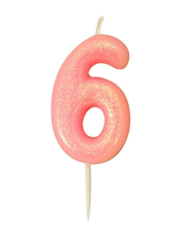 By AH -Candles -GLITTER PINK '6' -Κεράκι Ροζ Γκλίτερ αριθμός '6'