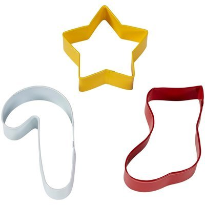 Wilton Christmas Cookie Cutter Set of 3 -STAR, STOCKING, CANDY CANE -Κουπάτ αστέρι, κάλτσα, γλυκό, 3 τεμάχια