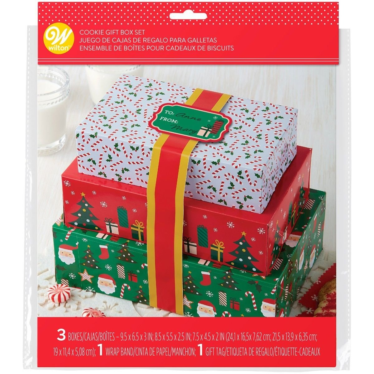 Wilton Christmas Themed Treat Boxes with Ribbons Set of 3