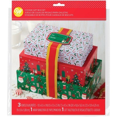 Wilton Christmas Themed Treat Boxes with Ribbons Set of 3 σετ κουτιά χριστουγεννιάτικα με κορδέλες