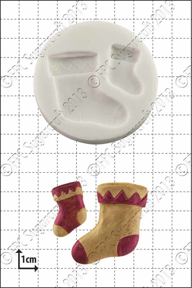 FPC - Silicone Mould - Xmas Stockings - Χριστουγεννιάτικες Κάλτσες Καλούπι