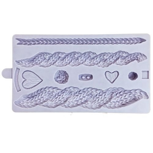 Karen Davies Silicone Mould -RUSTIC CABLE KNIT By ALICE -Καλούπι Πλέξη & Κουμπάκια
