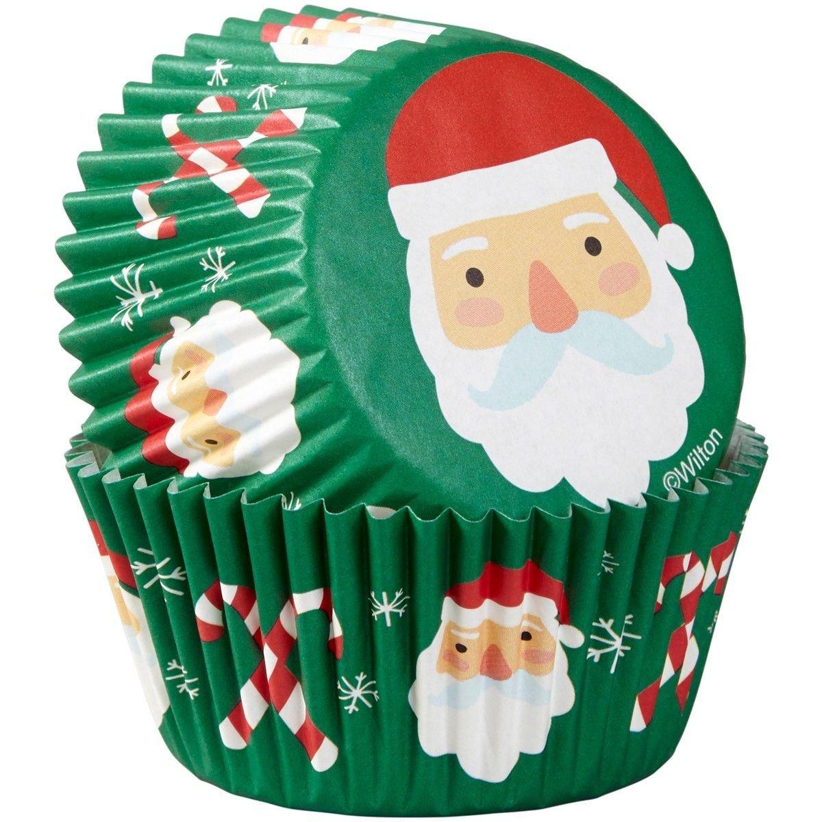 Wilton - Baking Cups Santa & Candy Cane pack of 75 - θήκες ψησίματος Αγ.Βασίλης & γλειφιτζούρι - 75τεμ 5εκ