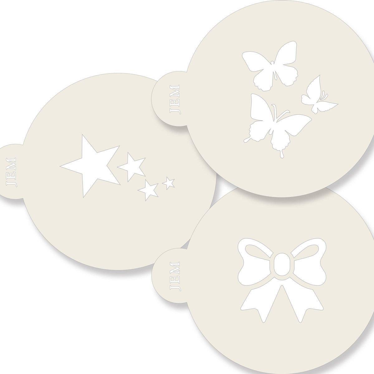 JEM Stencil -Set of 3 CLASSIC Designs -Butterflies, Star, & Ribbon -Στένσιλ Πεταλούδες Αστέρι Κορδέλα 3 τεμ