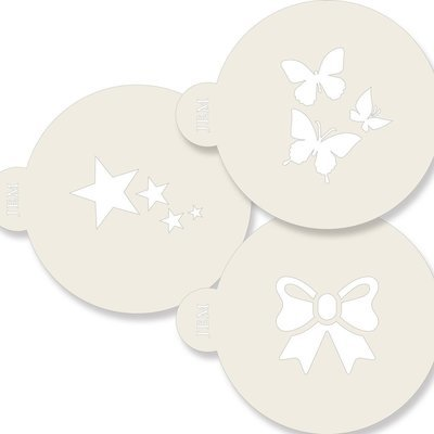 JEM Stencil -Set of 3 CLASSIC Designs -Butterflies, Star, & Ribbon - Σετ 3τεμ Στένσιλ - Πεταλούδες,  Αστέρια, Κορδέλα