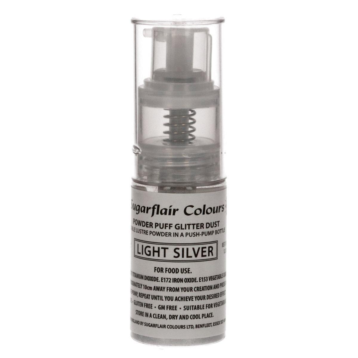 Sugarflair Powder Puff Glitter Dust Pump Spray -LIGHT SILVER 10g Βρώσιμο γκλίτερ ανοιχτό ασημί σε αντλία