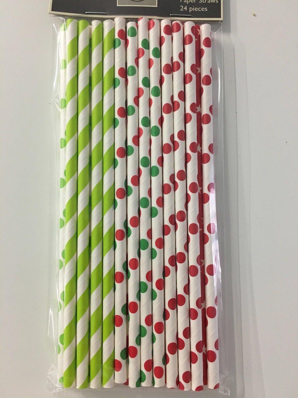 #Modecor - Paper Straws Red & Green - Χάρτινα Καλαμάκια Κόκκινα & Πράσινα - 24τμχ/πακέτο - 15.7x0.4εκ