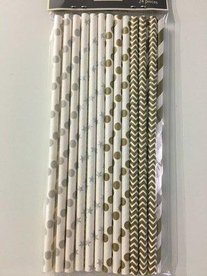 #Modecor - Paper Straws Silver & Gold - Χάρτινα Καλαμάκια Ασημένια & Χρυσά - 24τεμ/πακέτο - 15.7x0.4εκ