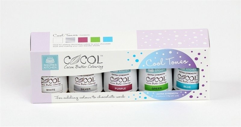 Squires Kitchen Extra Strength Cocol Set (Cool Tones) -Σετ 5 χρωμάτων για σοκολάτα & Candy Melts/Buttons -Ψυχρά Χρώματα)