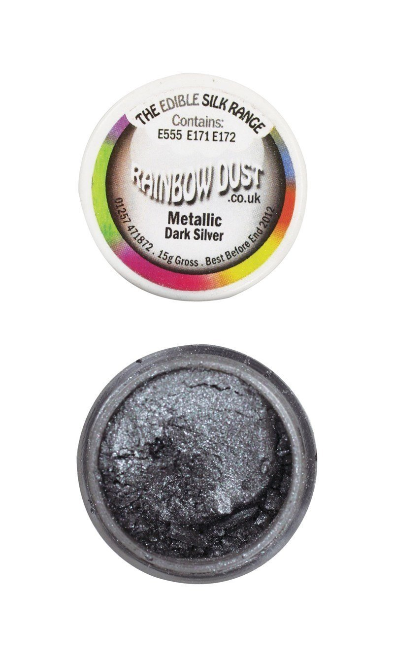 Rainbow Dust - Edible Dust Metallic Dark Silver - Βρώσιμη Σκόνη Μεταλλική Σκούρο Ασημί