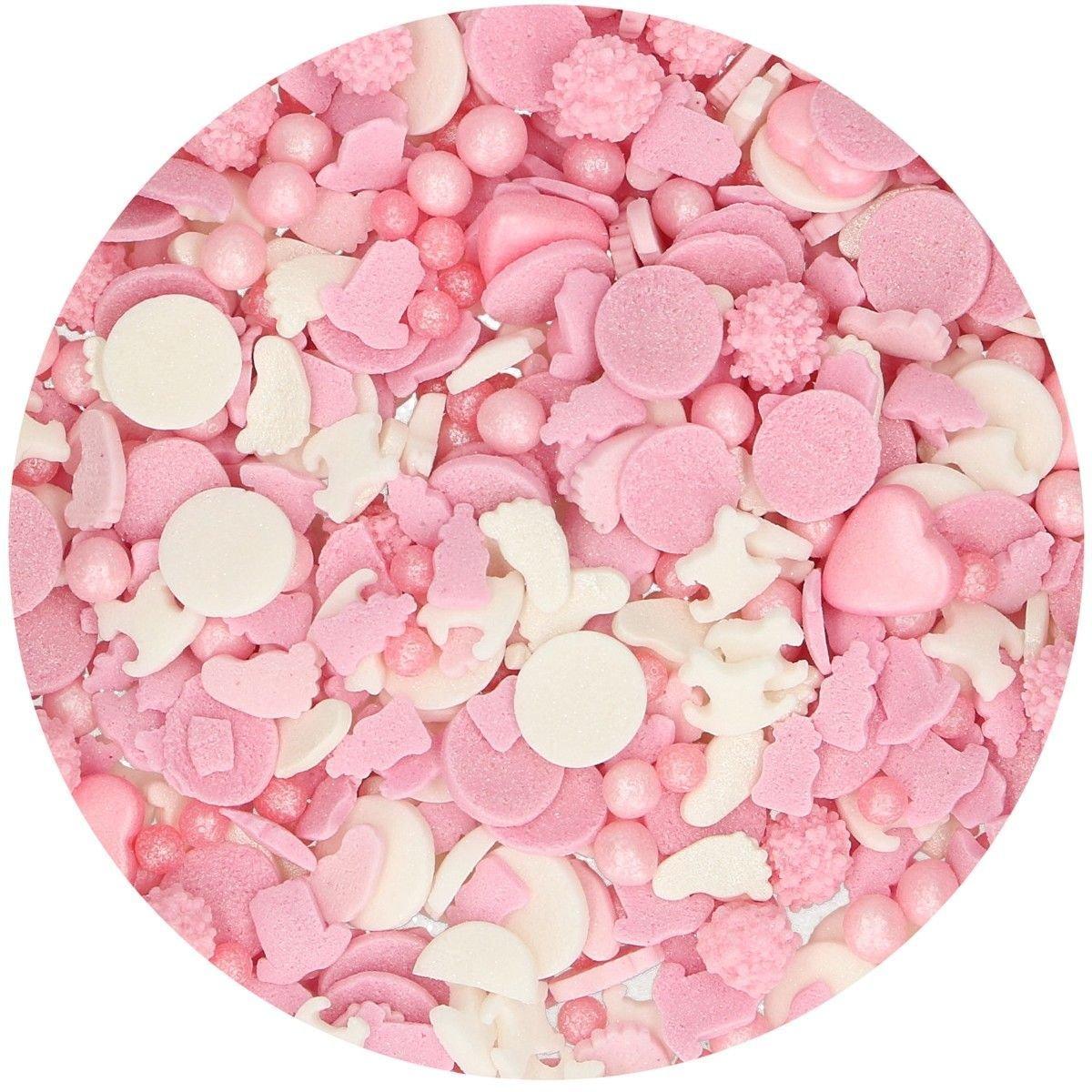 FunCakes Sprinkle Mix 180γρ -BABY GIRL MEDLEY -Κονφετί Ροζ & Λευκό