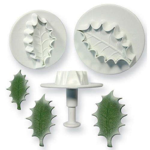 PME Plunger Cutters -Set of 3 -HOLLY LEAF -LARGE -Κουπάτ με Εκβολέα Μεγάλο Ανάγλυφο Φύλλο Γκι 3 τεμ