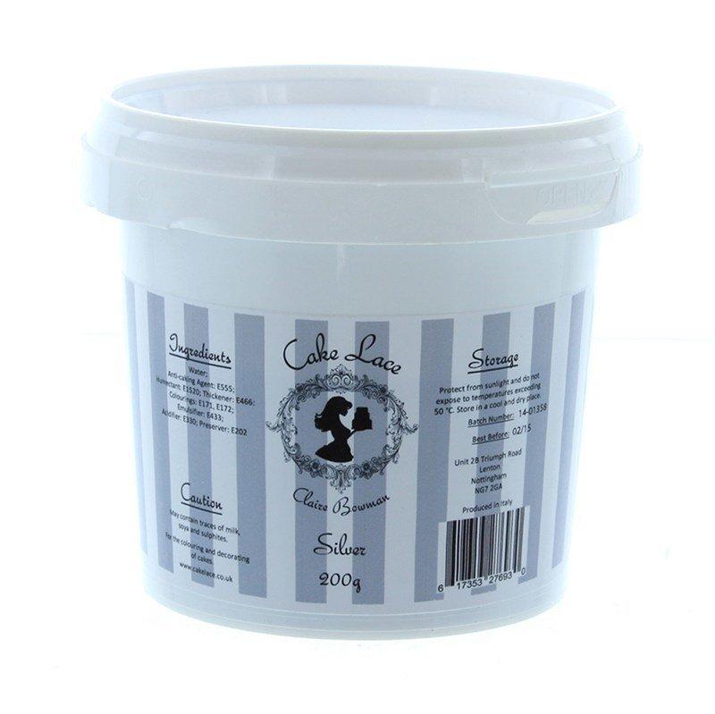 SALE!!! Claire Bowman - Cake Lace Mix Silver - Βρώσιμο Μείγμα Δαντέλας Ασημί - 200γρ