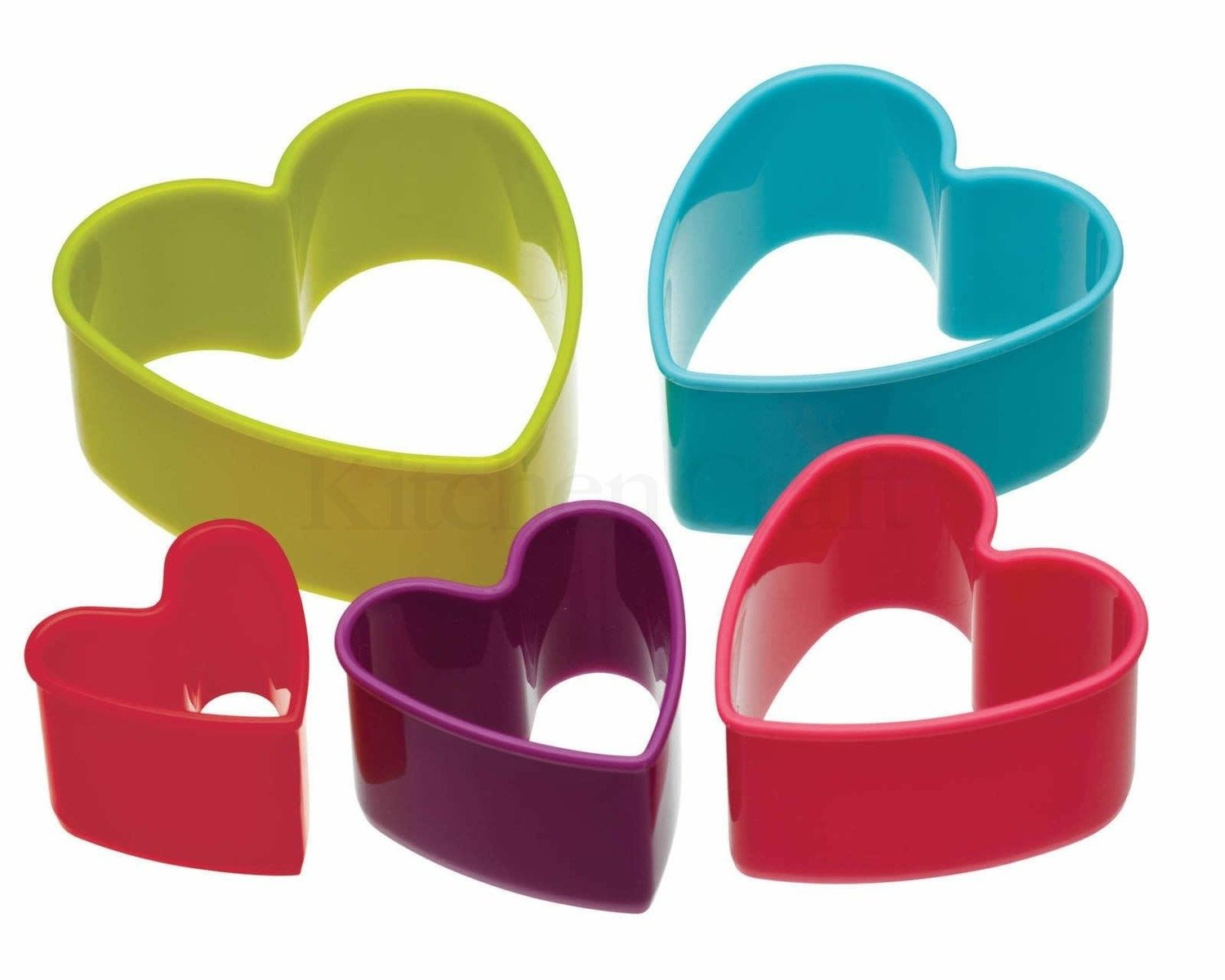 Colourworks - Set of 5 Heart Shaped Cookie Cutters - Πλαστικά Κουπάτ σχήμα Καρδιά - σετ 5 τεμαχίων