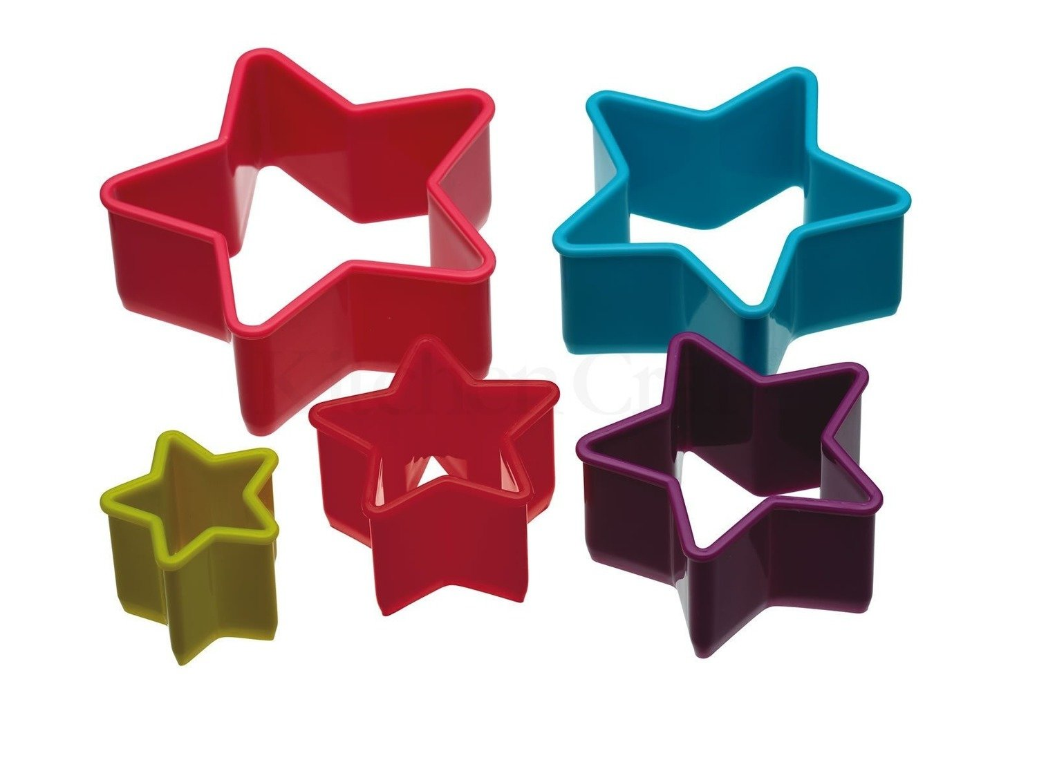 Colourworks - Set of 5 Star Shaped Cookie Cutters - Πλαστικά Κουπάτ σχήμα Αστέρι - σετ 5 τεμαχίων