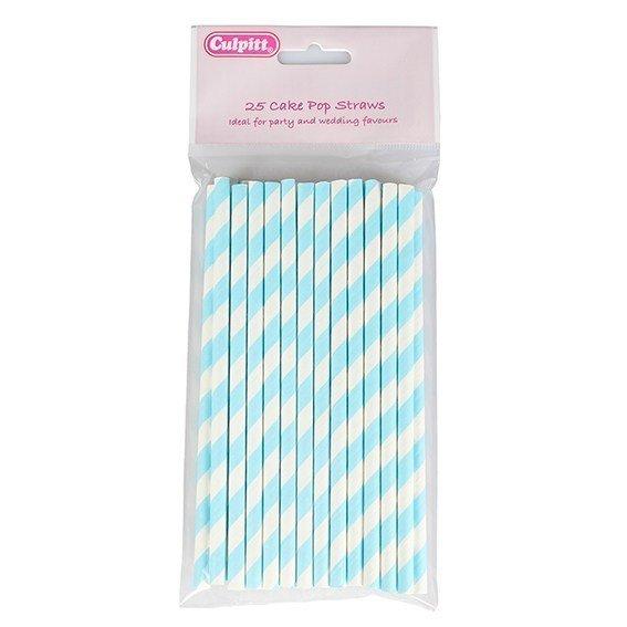 Culpitt Cake Pop Sticks -BLUE STRIPE - Στικ για Cake Pops με Μπλε Ρίγες 25 τεμ