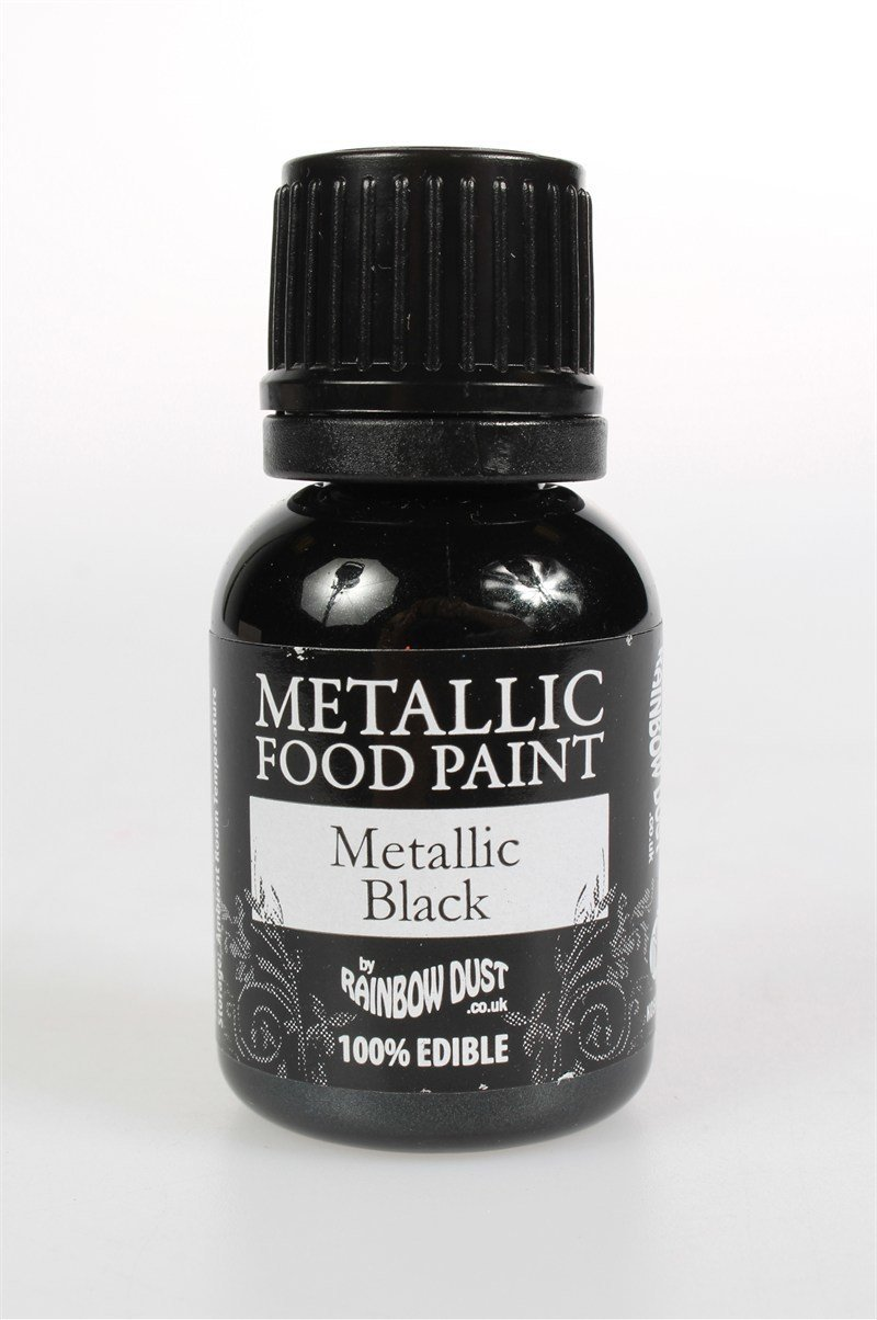 Rainbow Dust - Edible Metallic Food Paints Black - Μεταλλικό Βρώσιμο Χρώμα Ζωγραφικής Μαύρο - 25ml