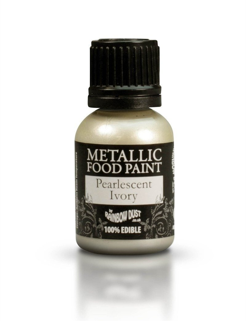 SALE!!! Rainbow Dust - Edible Metallic Food Paints Pearlescent Ivory - Μεταλλικό Βρώσιμο Χρώμα Ζωγραφικής Περλέ Εκρού - 25ml