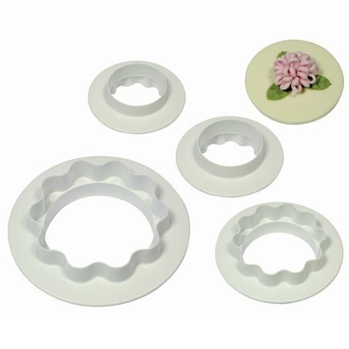 PME Geometric Cutters -Set of 4 -Plain and Wavy Edge -ROUND/CIRCLES -Κουπάτ Στρογγυλό & Κυματιστό 4 τεμ