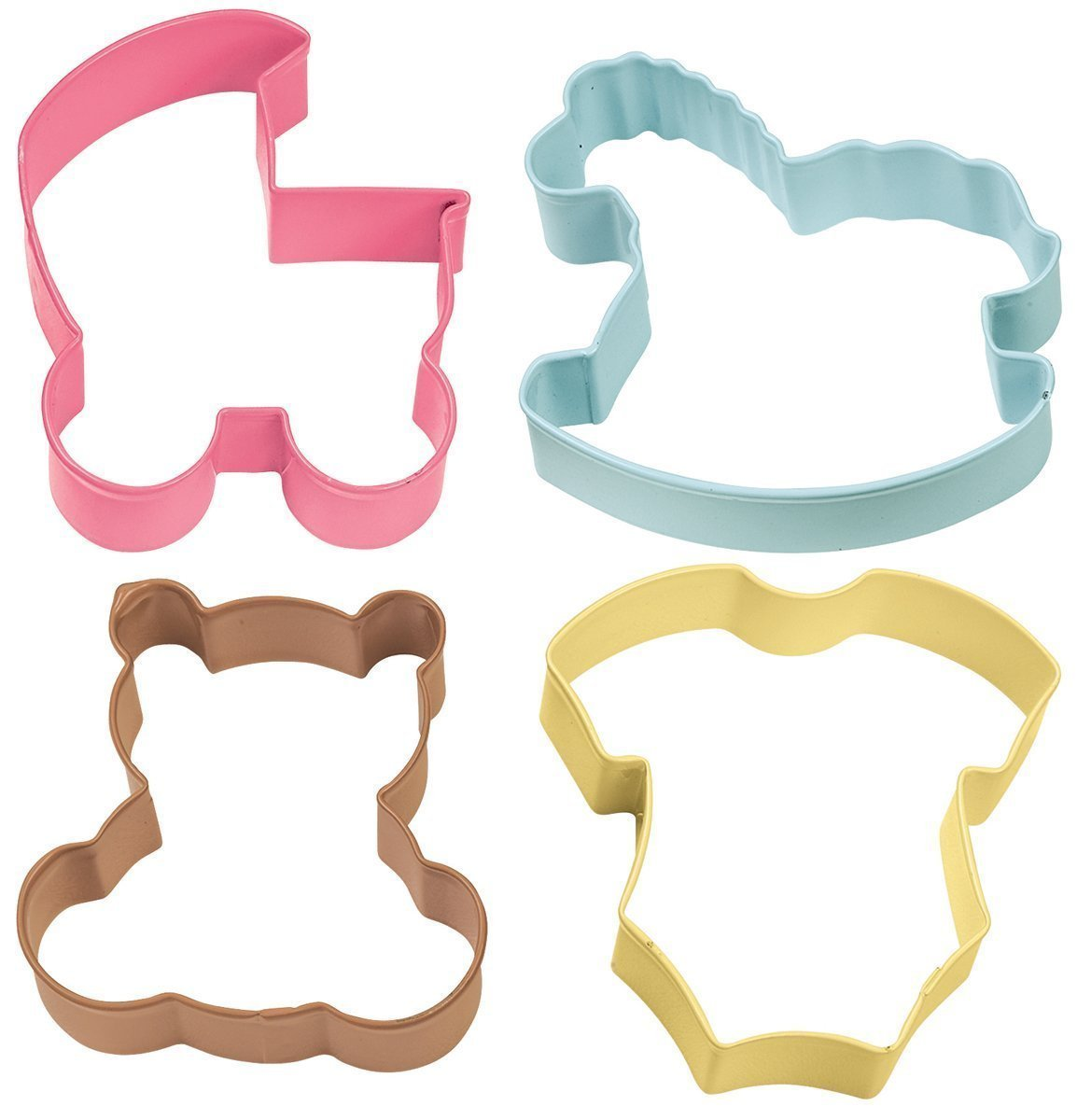 Wilton Cookie Cutter Set of 4 -BABY -PRAM, ROCKING HORSE, TEDDY, ONESIE Σετ με 4 κουπάτ -Μωρού.   Καρότσι, ζιπουνάκι, άλογο, αρκουδάκι 7.6εκ