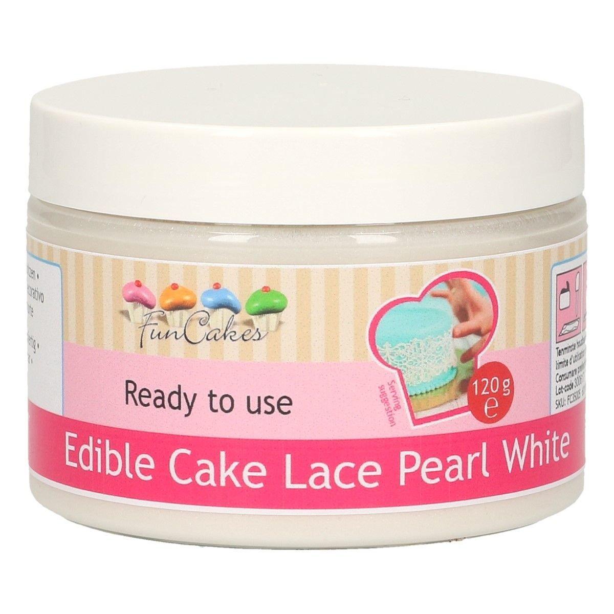 FunCakes Edible Cake Lace -PEARL WHITE -Βρώσιμη Μίγμα για δαντέλα -Περλέ Λευκό 120γρ