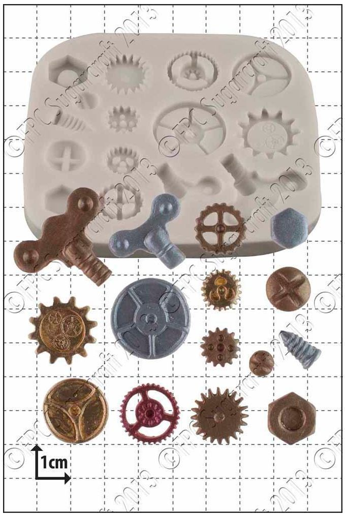By FPC -Silicone Mould -STEAM PUNK COGS & GEARS No.1 -Καλούπι Γρανάζια & Τροχοί
