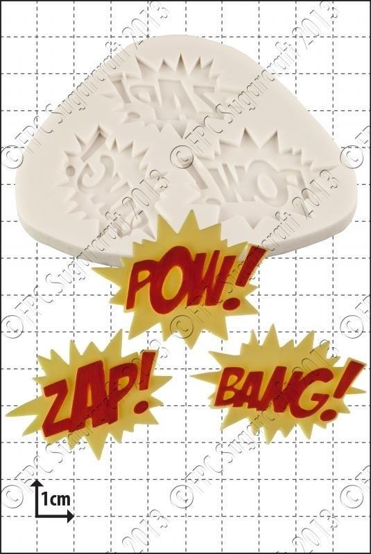 FPC Silicone Mould -ZAP POW BANG -Καλούπι Εκφράσεις Κινουμένων Σχεδίων