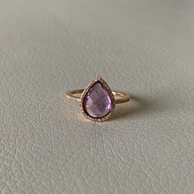 Pear Cut Amethyst And Diamond Ring