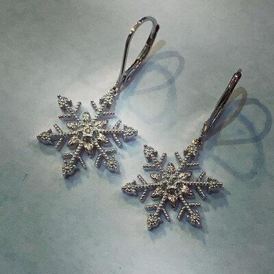 Beaded Snowflake Diamond Drop Earrings