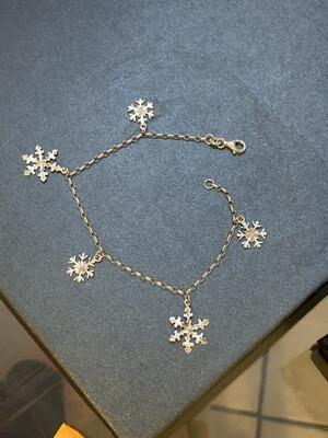 Diamond Cut Snowflake Charm Bracelet