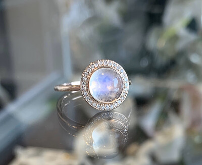 Moonstone & Diamond Halo Ring In Rose Gold