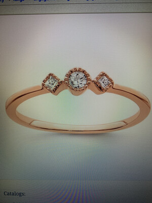 Petite Beaded Edge Diamond Ring