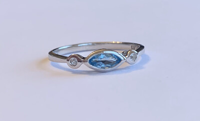 Evil Eye Swiss Blue Stackable Ring