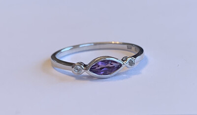 Evil Eye Amethyst Stackable Ring