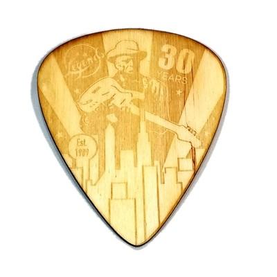 Wood Guitar Pick Coaster 30 Year Anniversary - Laser Engraved