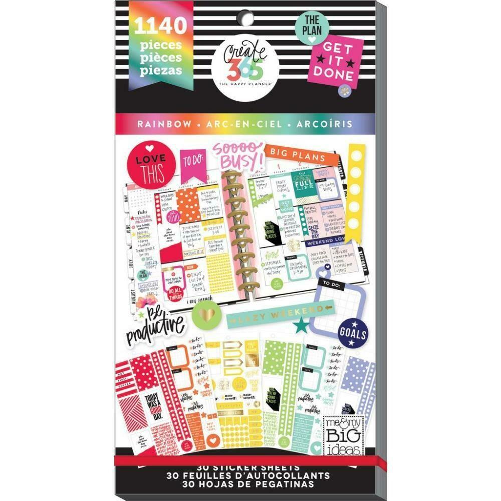 MAMBI Create 365 Happy Planner Sticker Value Pack (rainbow theme - 1,140 pieces)