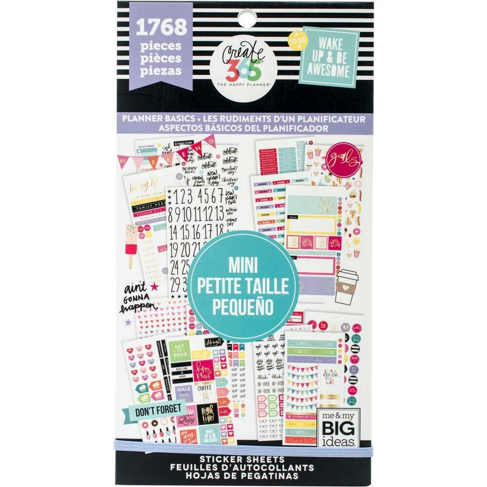 MAMBI Create 365 Happy Planner Sticker Value Pack (mini planner basics theme - 1,768 pieces)