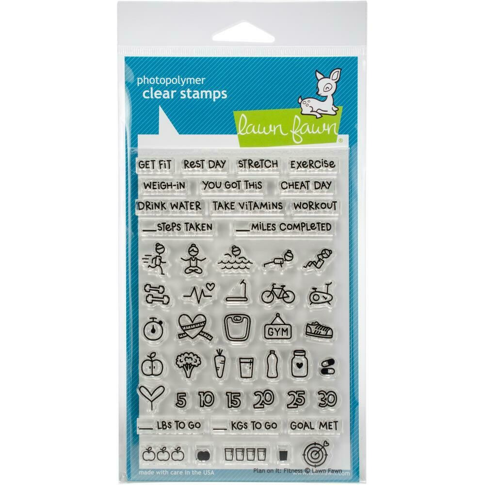 """Plan on It: Fitness Lawn Fawn Clear Stamps 4""""X6"""""""