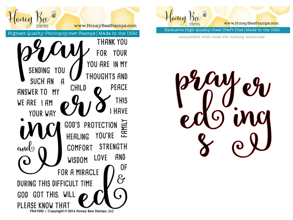 HONEY BEE PRAYER STAMP AND DIE SET